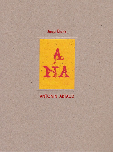 Jaap Blonk - Antonin Artaud Book+CD Art-Multiple 28746